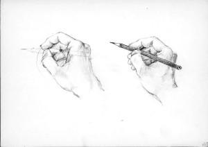 Studie-lidské-ruky,-tužka