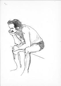 Studie-sedícího-muže,-tuš