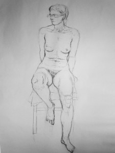 Sedici-akt-kresba-uhlem
